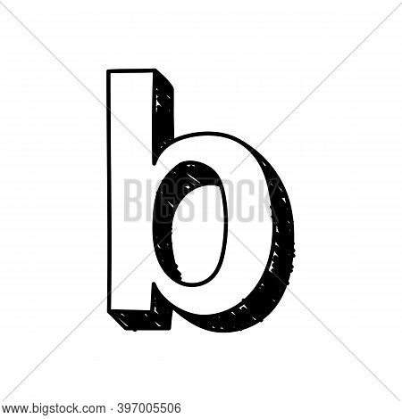 B Letter Hand-drawn Symbol. Vector Illustration Of A Small English Letter B. Hand-drawn Black And Wh