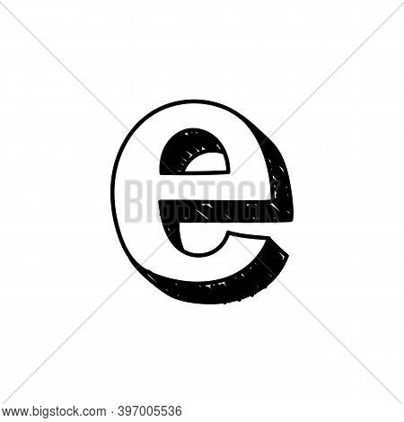 E Letter Hand-drawn Symbol. Vector Illustration Of A Big English Letter E. Hand-drawn Black And Whit