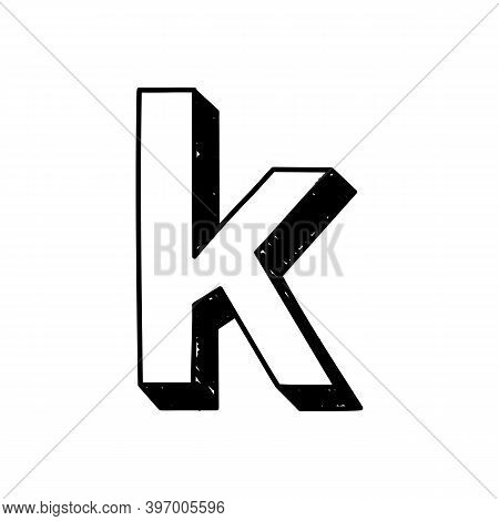 K Letter Hand-drawn Symbol. Vector Illustration Of A Small English Letter K. Hand-drawn Black And Wh