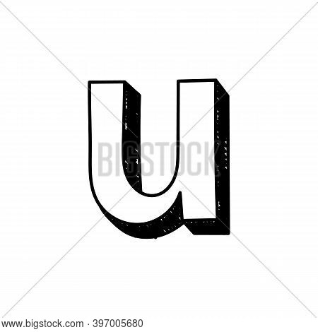 U Letter Hand-drawn Symbol. Vector Illustration Of A Small English Letter U. Hand-drawn Black And Wh
