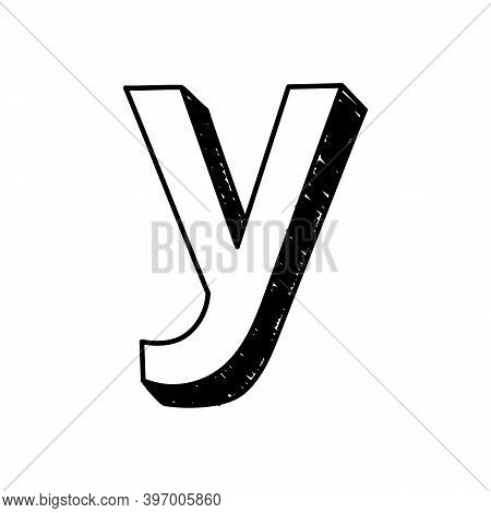 Y Letter Hand-drawn Symbol. Vector Illustration Of A Small English Letter Y. Hand-drawn Black And Wh