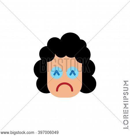 Depressed, Sad, Stressed Emoji Girl, Woman Icon Vector, Emotion, Sad Symbol. Modern Flat Symbol Web