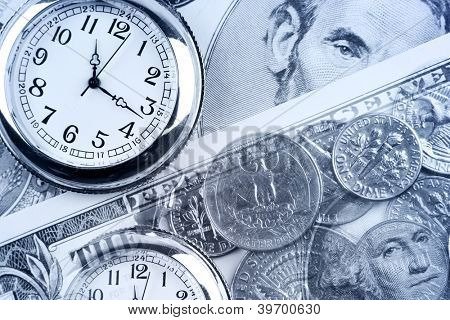 Clocks, coins and banknotes. Time is money concept