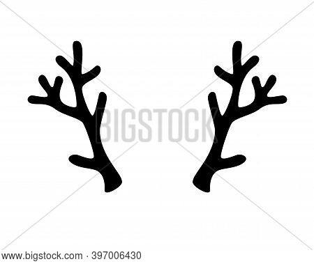 Deer Antlers - Vector Black Silhouette - Template For Logo Or Pictogram. Reindeer Antlers For A Chri