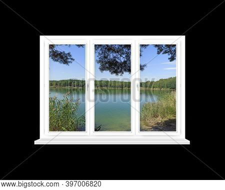 Room With Big Window With Panoramic View To Forest Lake. Landscape With Lake In Forest. Panoramic Vi