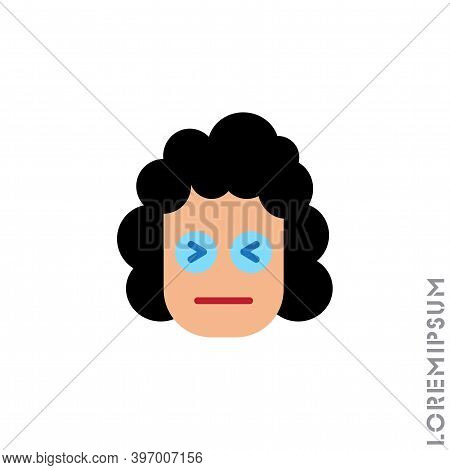 Angry Face Emoji Girl, Woman Icon Vector. Sad Face Emoticon Symbol. Style Sign For Mobile Concept An