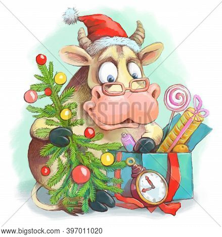 Funny Illustration. The Bull Symbol Of 2021 Sits With A Christmas Tree And Looks Into A Box Of Gifts
