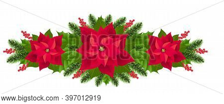 Red Poinsettia Isolated Garland With Fir Tree White Background With Gradient Mesh, Vector Illustrati