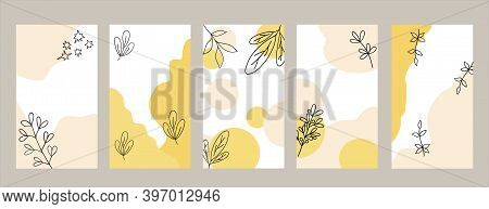 Elegant Social Media Templates Set In Trendy Colors Champagne Et Mellow Yellow, Backgrounds With Des