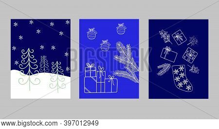 Merry Christmas And New Year Greeting Cards Set With Hand Drawn Outline Trendy Ornament For Winter H