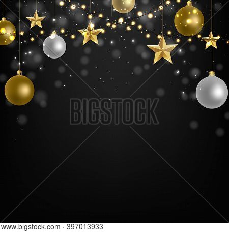 Xmas Postcard With Golden Stars With Gradient Mesh, Vector Illustration