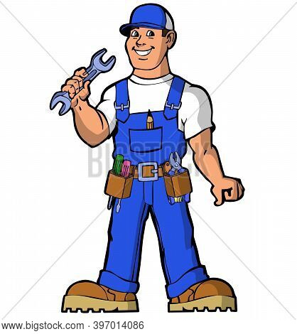 Cartoon character  handy man wearing a blue uniform with a wrench.