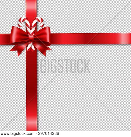 Xmas Ribbon Bow And Lollipop Transparent Background With Gradient Mesh, Vector Illustration