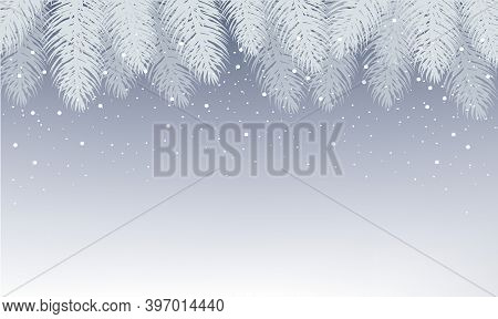 Xmas Postcard With Fir Tree Branches With Gradient Mesh, Vector Illustration