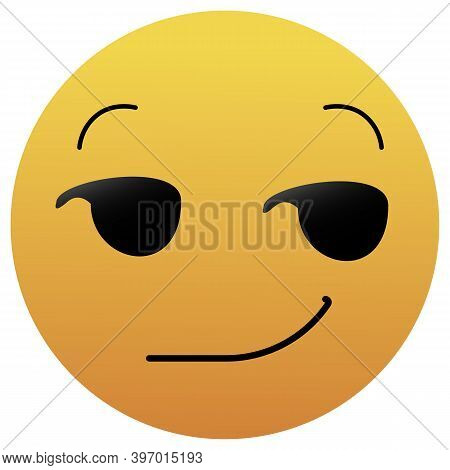Smirking Emoji. A Yellow Face With A Sly, Smug, Mischievous, Or Suggestive Facial Expression. A Half