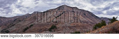 Provo Peak Mountain Views Looking Up To The Top From Rock Canyon By Slide Canyon, Slate Canyon, Wasa