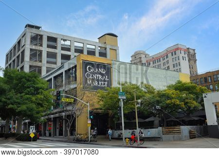 LOS ANGELES - CALIFORNIA: JUNE 18, 2019: The Grand Central Market, in continuous operation since in 1917, mission is to celebrate the cuisines and cultures of Los Angeles.