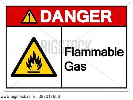 Danger Flammable Gas Symbol, Vector Illustration, Isolate On White Background Label. Eps10