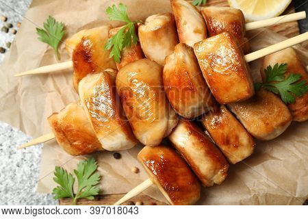 Delicious Chicken Shish Kebabs With Parsley On Grey Background, Closeup