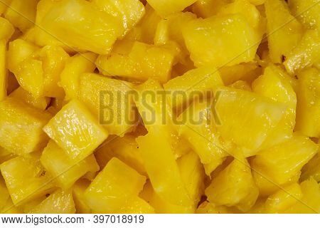 Food Background Of The Tasty Pineapple Slices