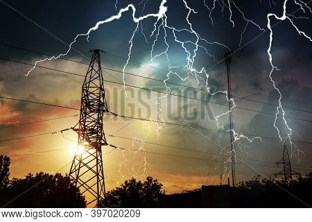 Picturesque Lightning Storm Over High Voltage Towers