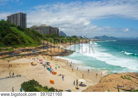 Rio De Janeiro, Brazil - November 23, 2014: View Of Rio De Janeiro Beaches Full Of People.