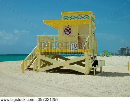 Miami, Usa - July 18, 2015:view Of Lifeguard Post On Miami Beach, Florida