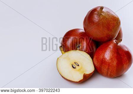 Organic Fruit Red Shiny Pears Isolated On White Background. Produce Product.