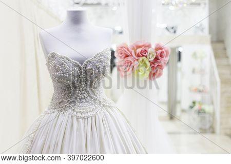 Shop window of the wedding salon.