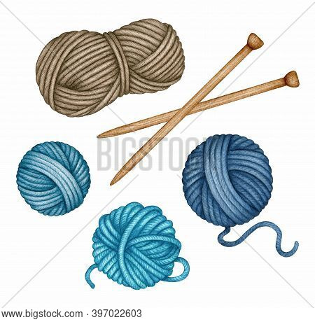 Watercolor Wooden Knitting Needles And Yarn Skeins Set. Balls Of Turquoise, Blue, Brown Wool Threads