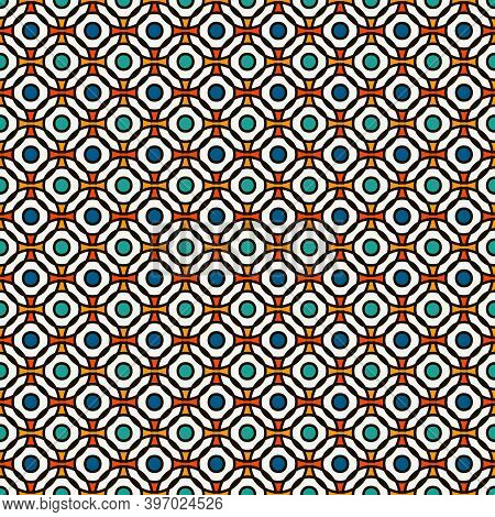 Blue Colors Seamless Pattern With Repeated Overlapping Circles. Round Links Chain Motif. Geometric A
