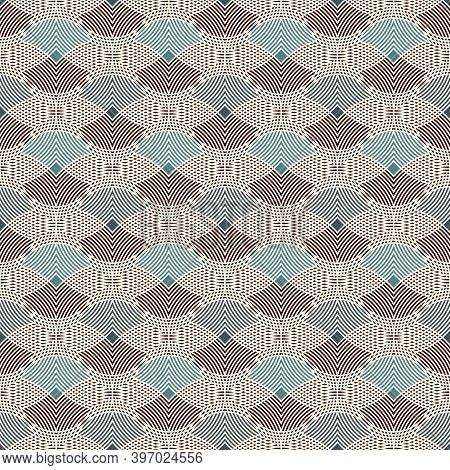 Repeated Hatched Overlapping Circles Seamless Pattern. Openwork Surface Texture. Round Links Motif.
