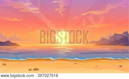 Vector Cartoon Illustration Of Ocean Landscape In Sunset Or Sunrise With Beautiful Pink Sky And Sun