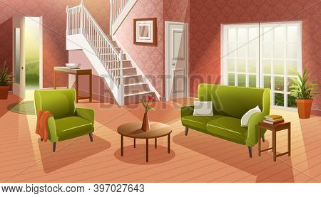 Vector Interior Cartoon Style Cozy Living Room With Wooden Floor And Furniture, Sofa, Table And Wind