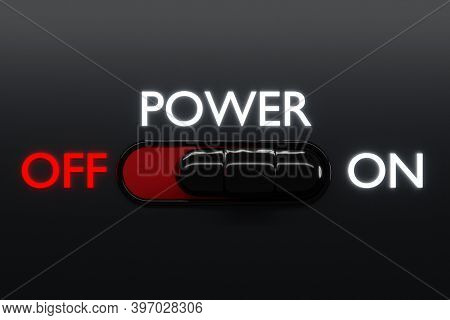 3d Illustration Of On And Off Toggle Switch Buttons With 1 And 2 Lettering,  Start  Inscription   Po