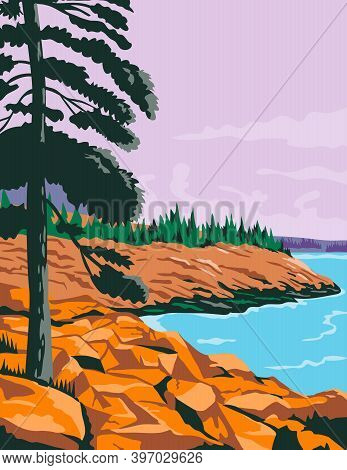 Wpa Poster Art Of Acadia National Park, An American National Park Located In State Of Maine, Southwe