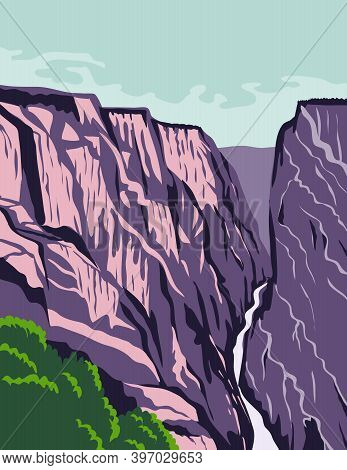 Wpa Poster Art Of Black Canyon Of The Gunnison National Park, A Steep-walled Gorge Carved Through Pr