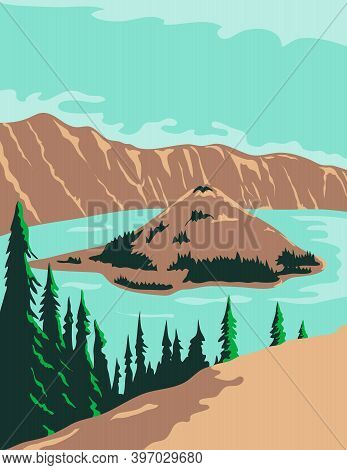 Wpa Poster Art Of Crater Lake National Park, A Crater Lake With Wizard Island And Phantom Ship In Kl
