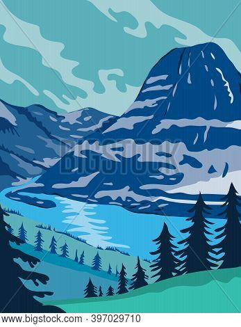 Wpa Poster Art Of Glacier National Park With Pristine Forests, Alpine Meadows, Mountains And Lakes L