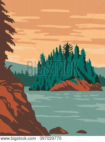 Wpa Poster Art Of Isle Royale National Park, Consisting Of Isle Royale And Hundreds Of Islands In La