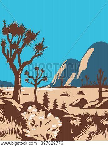 Wpa Poster Art Of Joshua Tree National Park In East Of Los Angeles And San Bernardino Near Palm Spri