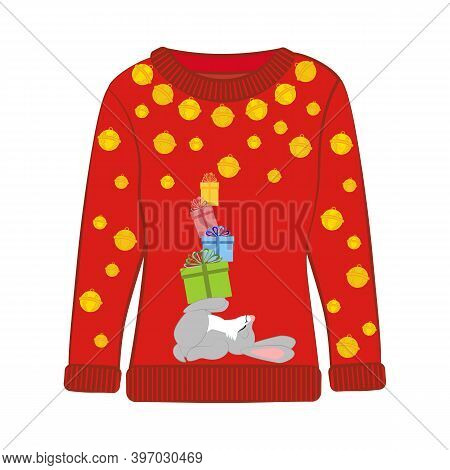 Christmas Party Ugly Sweater With Rabbit Vector Illustration