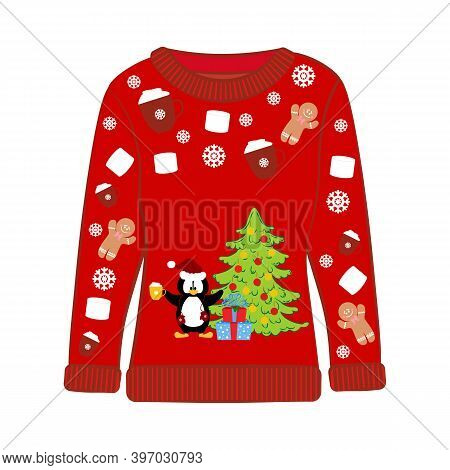 Christmas Ugly Sweater With Penguin Vector Illustration