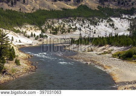 Yellowstone River In The Valley Of Yellowstone National Park.