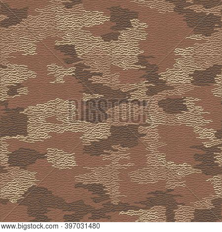 Fiber Seamless Camo Texture. Weave Pattern Thread. Urban Camouflage Textile. Yarn Rough Knit Backgro