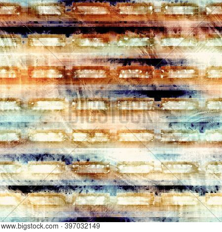 Blurry Grunge Washed Out Tie Dye Texture Background. Wavy Irregular Motion Wave Seamless Pattern. Gr