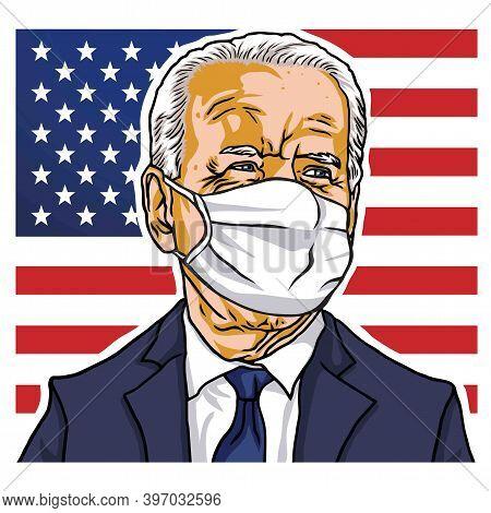 Elected President Of The United States Of America, Joe Biden Wearing Mask Portrait, Vector Cartoon C