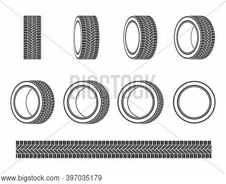 Car Tires Logo Design. Black Rubber Vector Wheel Tyre.