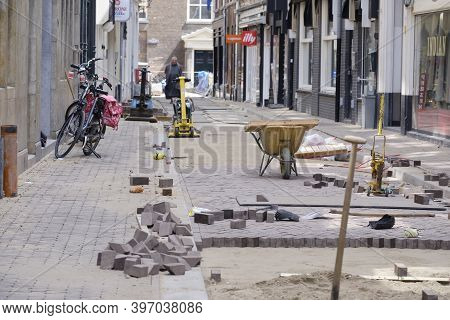 The Hague, The Netherlands - May 15, 2020. A View Of A Broken Open Street In The Center Of The Hague