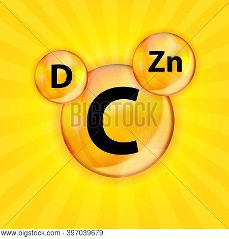 Vitamin C, D, Zn Complex. Vector Illustration